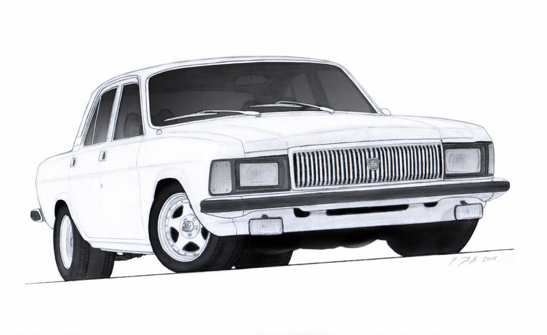1982 GAZ Volga V8 Drawing by Vertualissimo