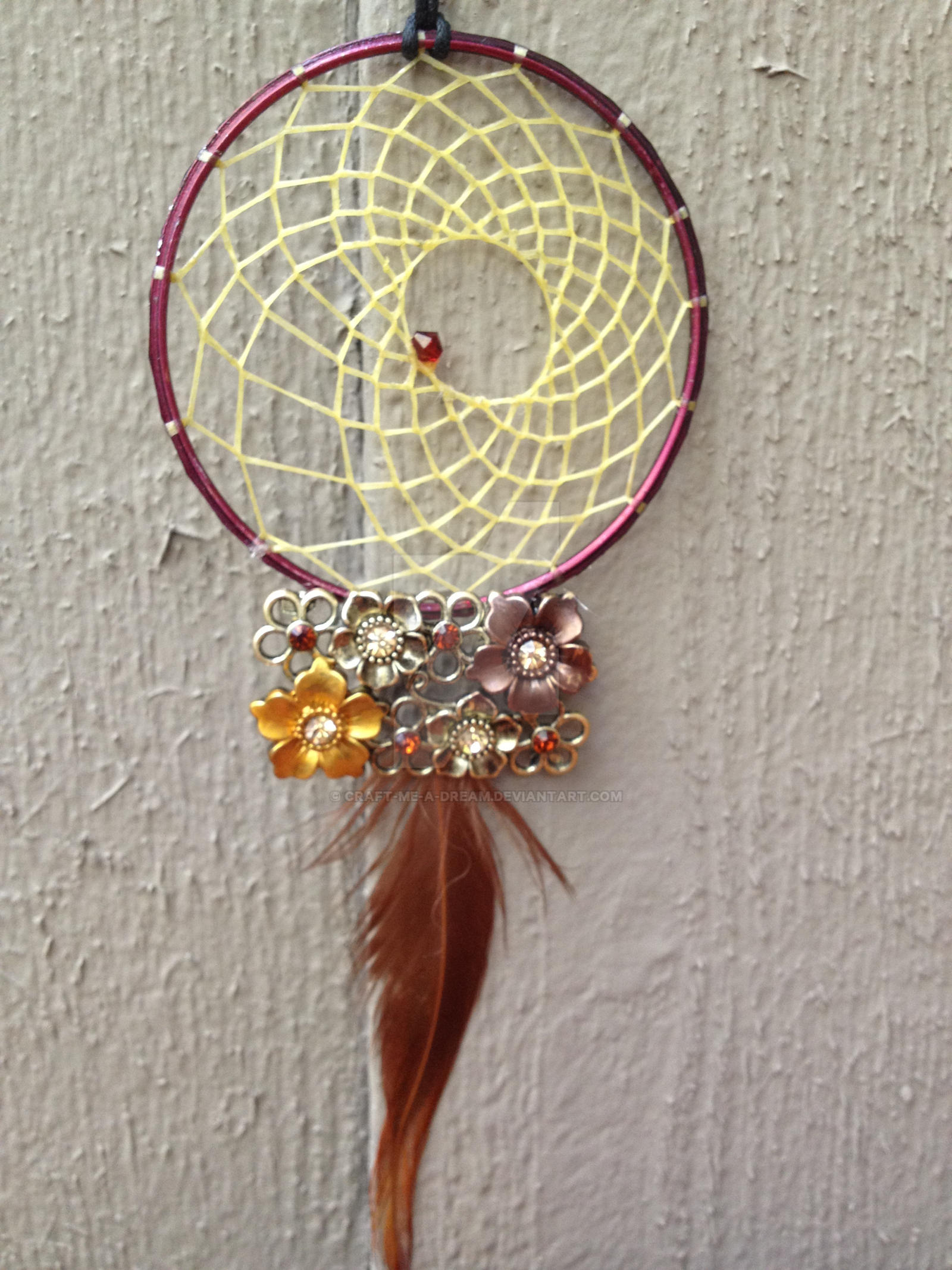 Maroon Flower Dream Catcher by Craft-Me-A-Dream