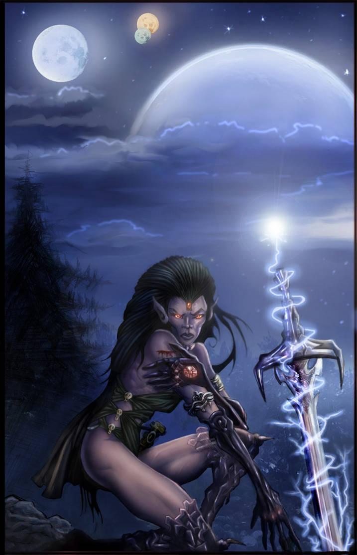 woman and magic sword