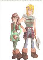 Hallie and Asgard AKA Hiccup and Astrid Genderswap by Artlesa