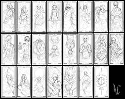 Turtle Tarot: Rough sketches by Turtle-Arts