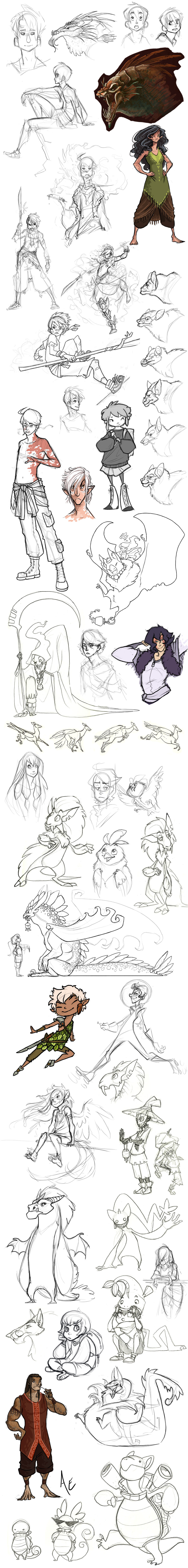 Sketchdump: Roughs and tumbles by Turtle-Arts