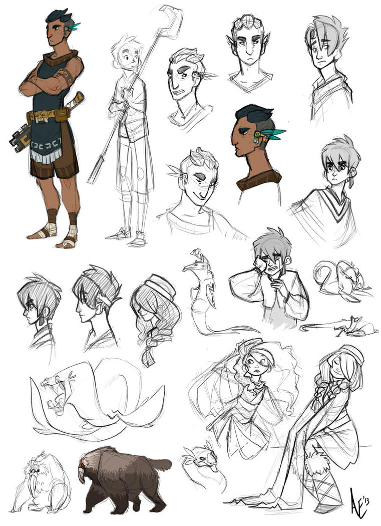 Sketchdump: Sky Herder whatnot by Turtle-Arts