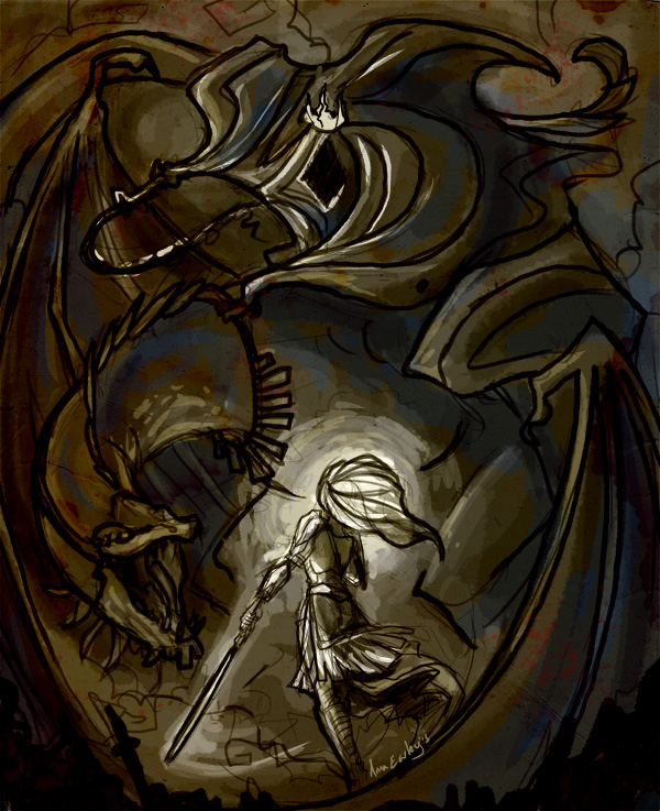 Painting Prep: Eowyn and the Witch King by Turtle-Arts