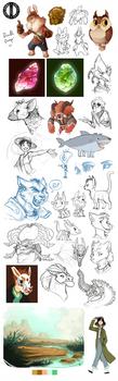Great Big Sketchdump Feb '19 by Turtle-Arts