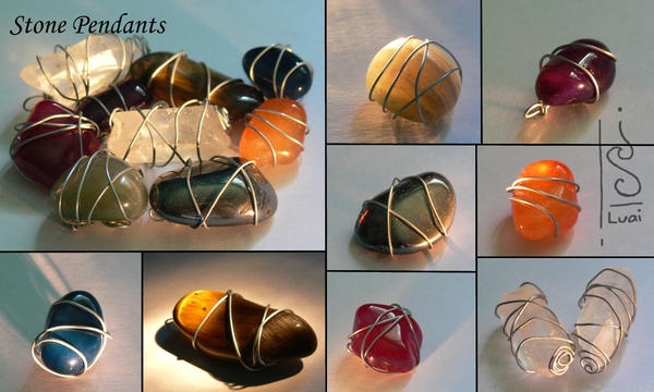 Wire wrapped stone pendants by Luai-lashire on DeviantArt