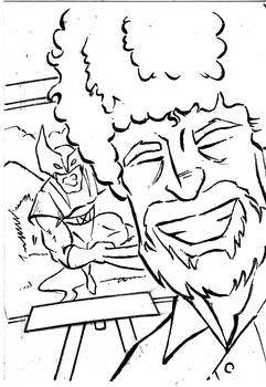 Bob Ross and Wolvie SketchCard