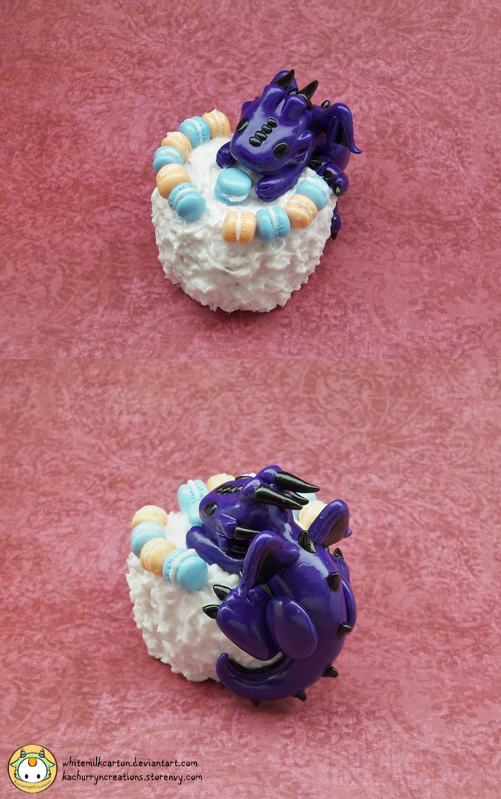 Dragon with Macaron Cake by whitemilkcarton