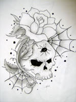 skull and rose by wickedsesshy