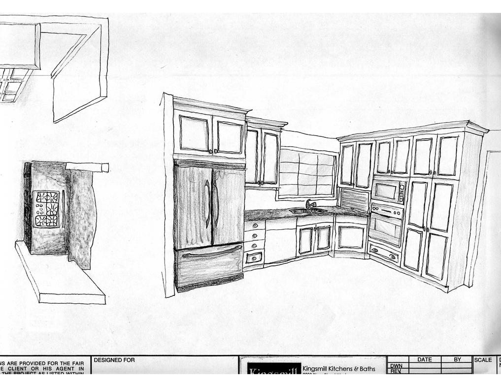 Kitchen design sketch 1 by 93turbod on deviantart for Interior designs kitchen sketches