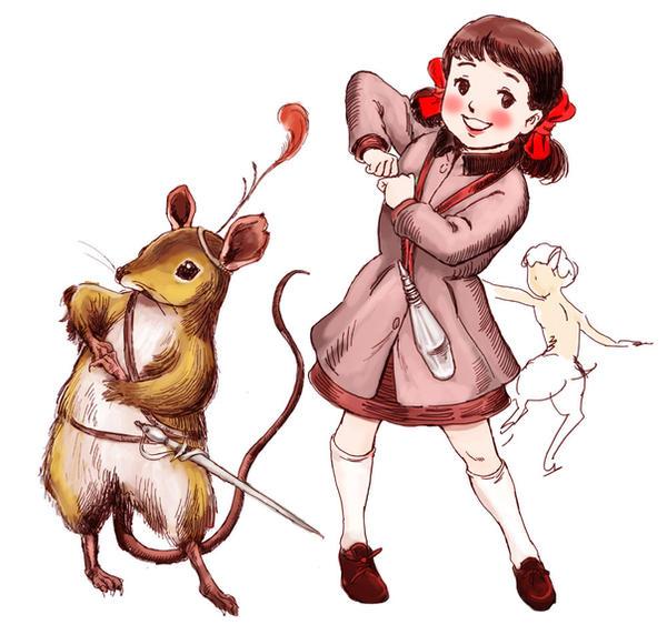 Lucy and Reepicheep by otenba-bekki