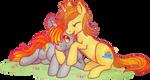 MLP: OCs Tinderbox and Peachy cuddling by Yu-Jie by FloppyChiptunes
