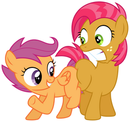 MLP: Scootaloo and Babs Seed's blank flank bump by FloppyChiptunes