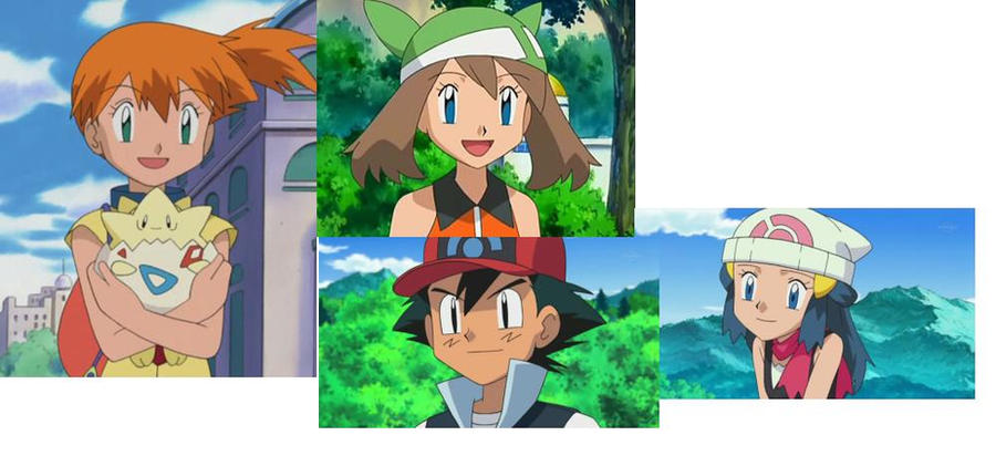 Ash, Misty, May and Dawn by Batthan
