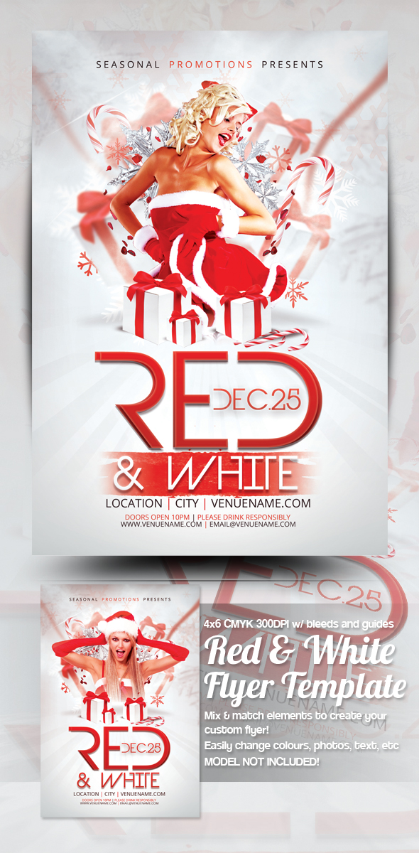 Red + White Christmas Party Flyer Template by mrkra
