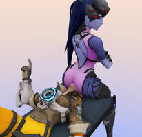 Widowmaker facesitting Tracer by skinnydipper69