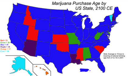 Marijuana Purchase Age by US State, 2100 CE
