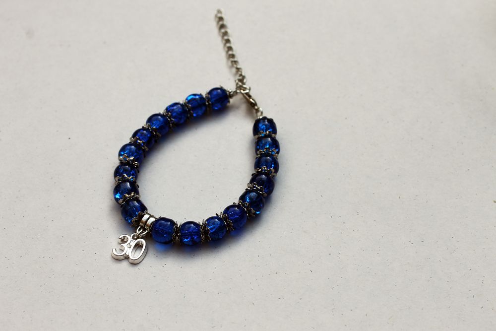 Blue Crackle Glass Beaded 30th Birthday Bracelet by Clerdy