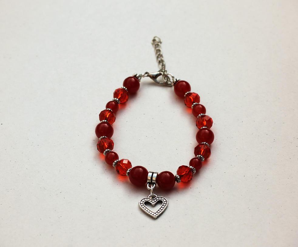 Red Jade and Swarovski Crystal Heart Charm Bracele by Clerdy