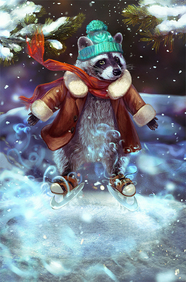 raccoon and the magic skates by morawless