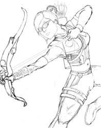 Female Hawkeye (Sketch) by bloodline-animation