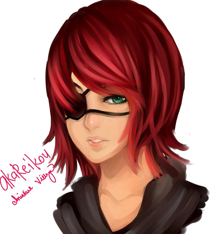 crimson with eye patch by AkaReikou
