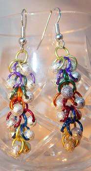 Shaggy Loops Beaded Earrings- Rainbow and Stardust