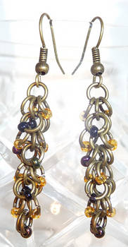 Shaggy Loops Beaded Earrings - Oil and Brass