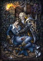 Alucard and wounded Richter. by Candra