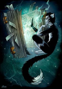 Magical cat and magical book