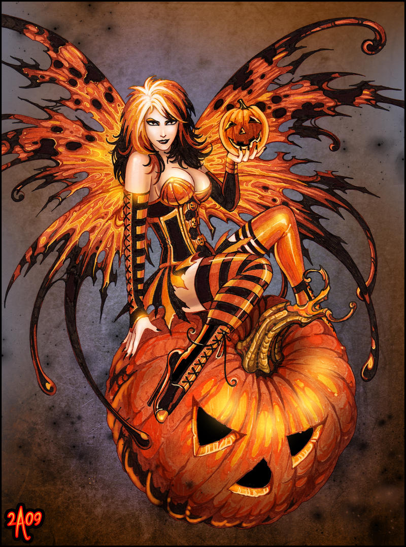 Fairy of halloween pumpkin by candra on deviantart for Awesome pumpkin drawings