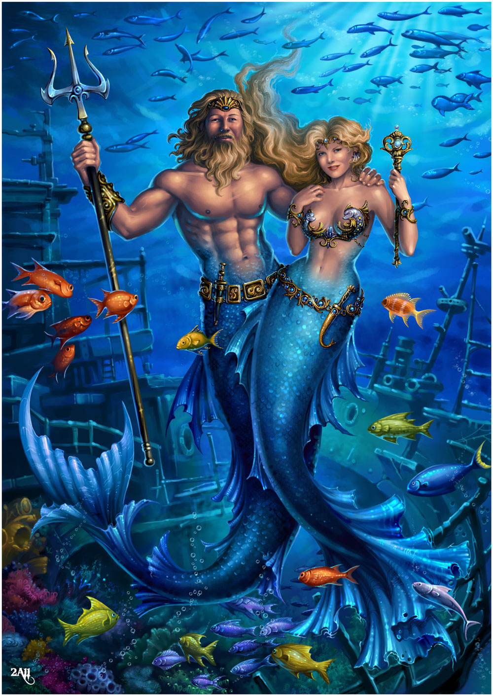 King Neptune and his Queen. by Candra