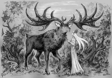 Elvenking and his Elk. by Candra