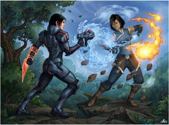 Korra vs Shepard by Candra