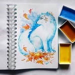Instaart -  Arctic Fox and autumn leaves