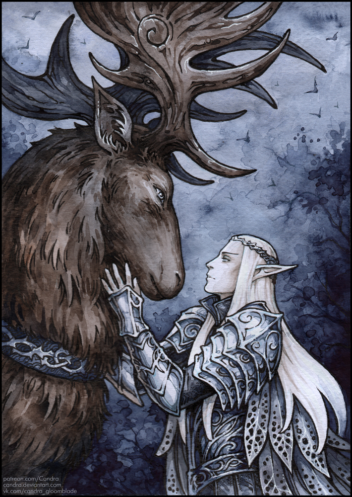 Thranduil and his elk by Candra