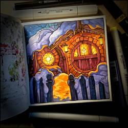 Instaart -  Winter Night in Hobbiton