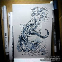 Sketchbook - Mermaid and octopus by Candra