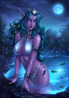Tyrande's Night Bathing by Candra