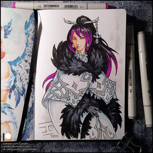 Sketchbook - Riena in winter outfit.