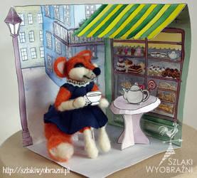 Cafe fox - needle felting