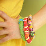 Sherbet Beaded Fabric Bangles by popnicute