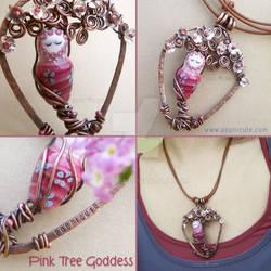 Pink Tree Goddess Necklace