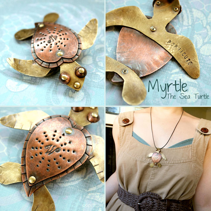 Myrtle The Sea Turtle Pendant by popnicute
