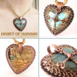 Celtic Cross Labradorite Heart Pendant