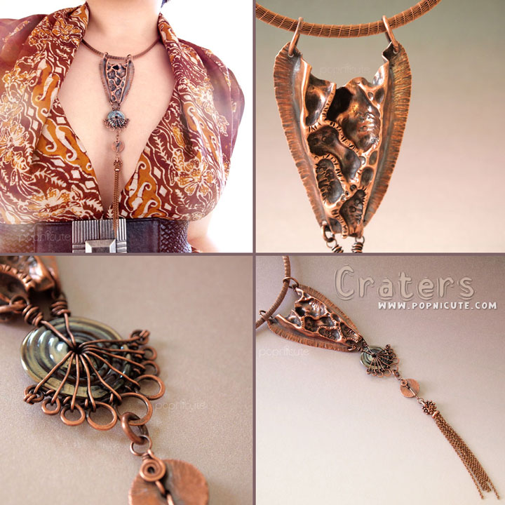 Moon Craters Fold Forming Copper Necklace by popnicute on DeviantArt