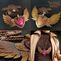 Steampunk Winged Heart Necklace Pendant