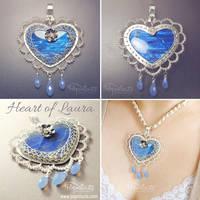 Heart of Laura Blue Labradorite Silver Pendant by popnicute