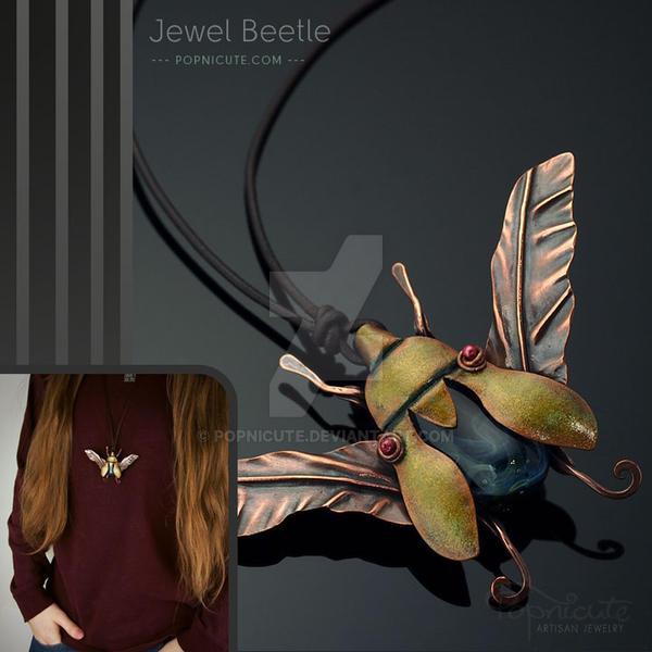 Jewel Beetle Copper Glass Pendant Necklace by popnicute