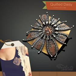 Quilted Daisy Art Brooch